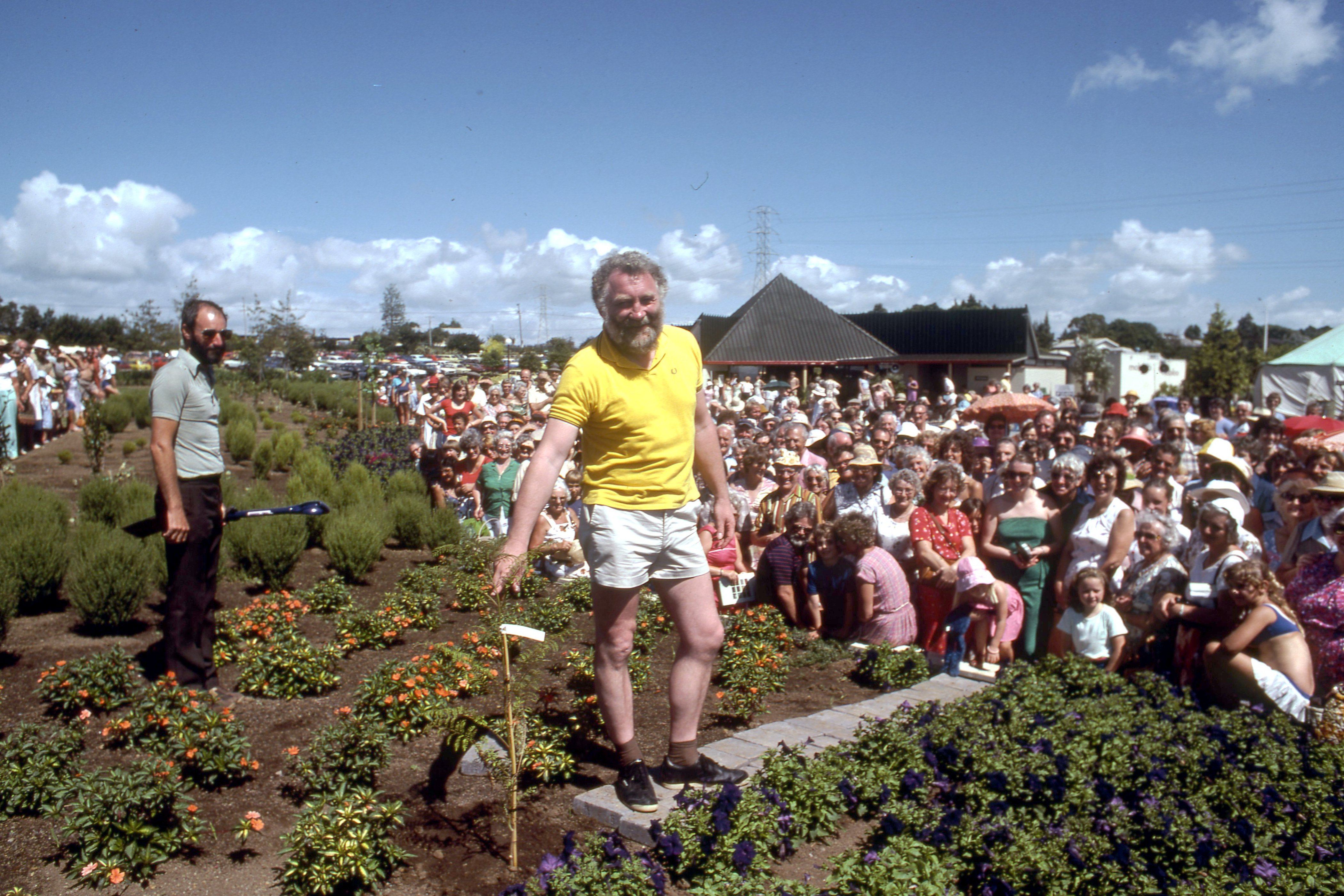 1982. Botanist David Bellamy at the opening of the Gardens.