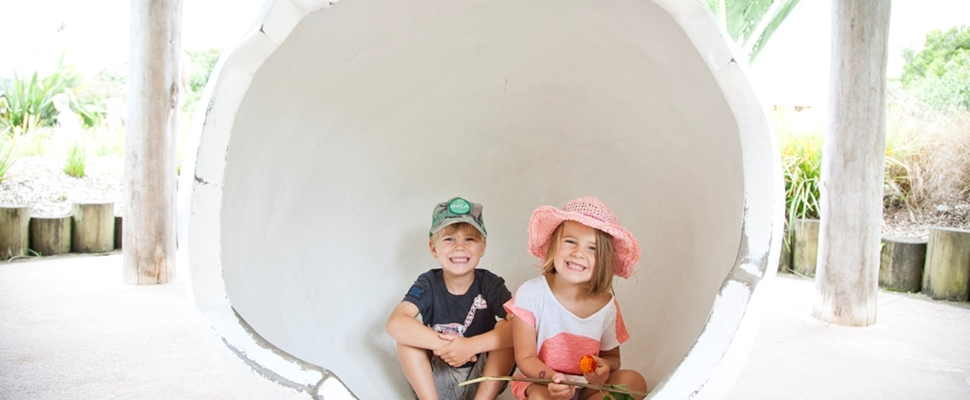 Kids in the kereru egg