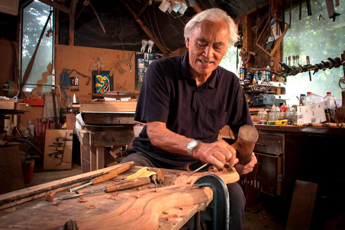Fred Graham carving in his studio