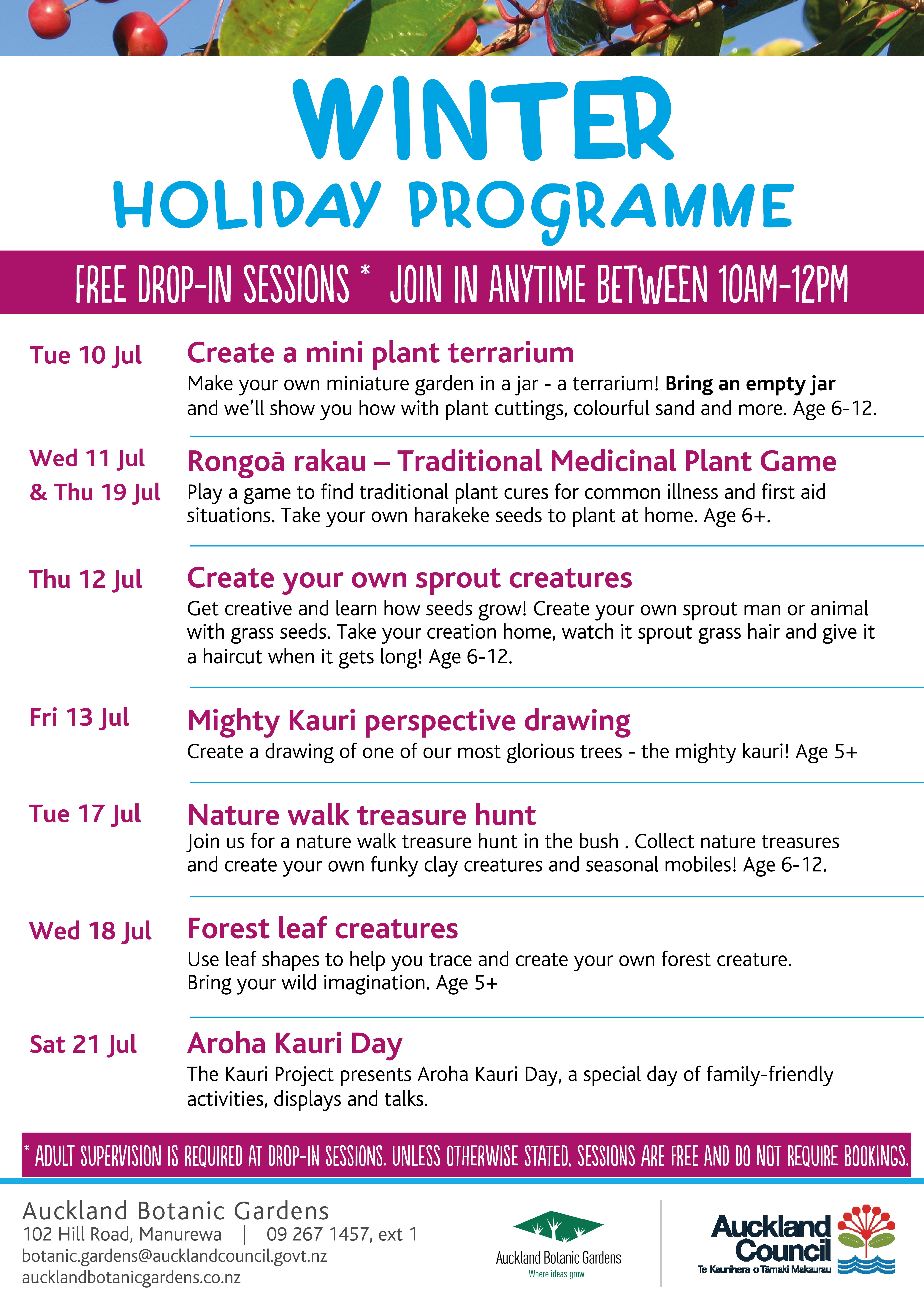 July school holiday programme poster