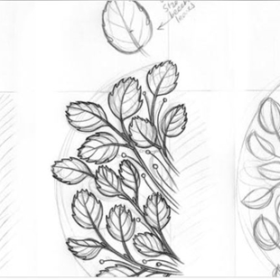 Sketching for botanical composition image