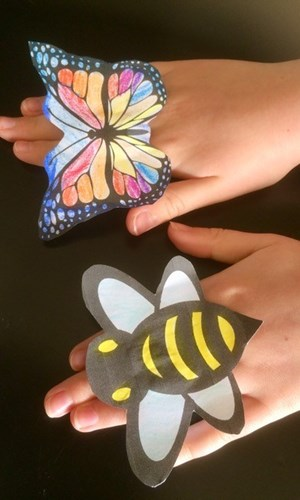 bee and butterfly finger puppets pic